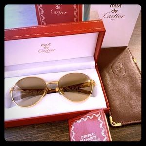 RARE Authentic Cartier Gold Bubinga Sunglasses